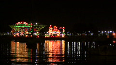 Christmas Lights On The Water Stock Footage