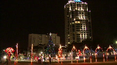 Stock Video Footage of Christmastime Cityscape