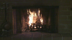 fireplace fire and flames with crackle HD - 5 - seamless loop straight shot - stock footage
