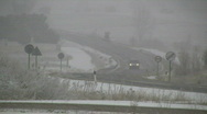 Winter road during snow storm Stock Footage