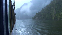 Milford Sound New Zealand scenic from boat - stock footage