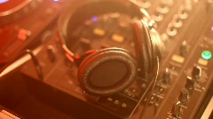 DJ turntables and headphones Stock Footage