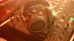 DJ turntables and headphones - stock footage