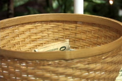 Tithing Basket Closeup as Parishioners Put Money In Stock Footage