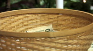 Stock Video Footage of Tithing Basket 152