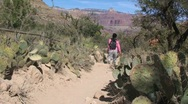 Stock Video Footage of Group of Female Hikers on Trail at the Grand Canyon