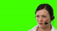Stock Video Footage of Woman on a headset talking