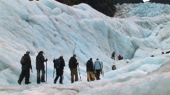 Glacier New Zealand people walking Stock Footage