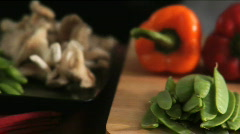 Pan over Asian vegetables Stock Footage