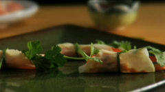 Pan over Asian appetizer Stock Footage