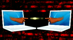 Two laptops with digital effects Stock Footage