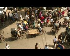 Rickshaws in Dhaka (w sound) Stock Footage
