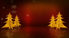 Gold Trees On Red Centered Stock Footage