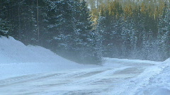 A car driving on  country road in the snow, Sweden - stock footage