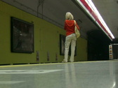 The walk2. The girl waits for a train Stock Footage