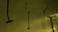 Ski lift in snowstorm Stock Footage