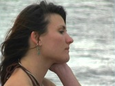 Lovely Brunette on a Lakeshore (8) Stock Footage