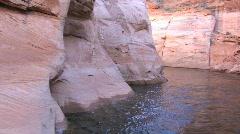 Sandstone Rock Walls in Water along Lake Powell Stock Footage