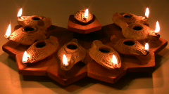 Hanukia made of ancient clay olive oil lamps - stock footage