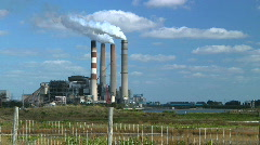 Power Plant near Water Stock Footage