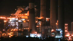 Electric Plant at Night Stock Footage