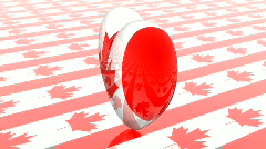 Rotated heart with canadian flag texture, loop Stock Footage