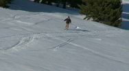 Skiing off-piste Stock Footage