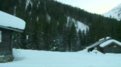 Wooden alpine chalet pan Stock Footage