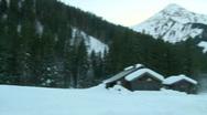Wooden alpine chalet pan Stock Footage