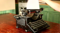 Vintage Typewriter Being Used By A Woman - stock footage
