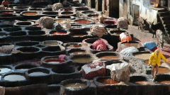 Old Tannery in Fes, Morocco Stock Footage
