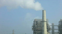 Smoggy Hazy Industrial Smoke Stack Stock Footage
