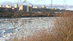 Ice drift in a river at sunset 2  Stock Footage