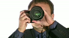 Businesman with photo camera Stock Footage