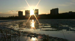 Ice drift in a river at sunset 14  Stock Footage