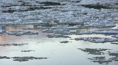 Ice drift in a river at sunset 19  Stock Footage
