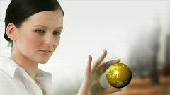 Business woman holding a Globe Stock Footage