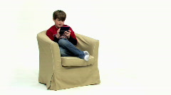 Boy 1 Plays Video Game - Lose - Wide Stock Footage