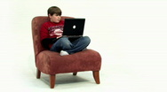 Boy 1 Uses Laptop - Wide Stock Footage