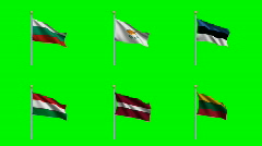 Flags Set 5 Stock Footage