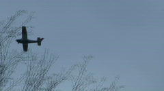 Prop Plane through Trees Stock Footage