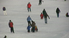 Ice Skating On The Rideau Canal Ottawa Stock Footage