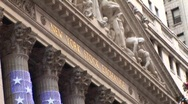 Stock Video Footage of New York stock exchange zoom out with Christmas Tree