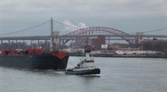 Stock Video Footage of New York tugbot with barge