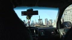 Taxi ride approaching Brooklyn Bridge Stock Footage