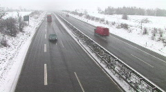 HD1080i German Highway Autobahn Snowfall Winter matsch Stock Footage