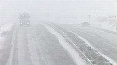 HD1080i German Highway Autobahn Snowfall Winter matsch fog Stock Footage