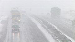 Stock Video Footage of HD1080i German Highway Autobahn Snowfall Winter matsch fog part 2