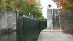 Autumn at the river lock. Stock Footage