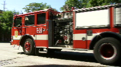 Firetruck Drives Away Stock Footage